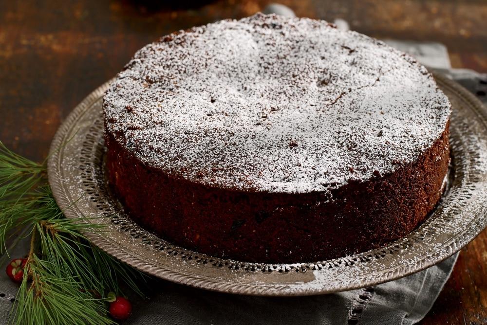 chocolate cherry almond christmas cake