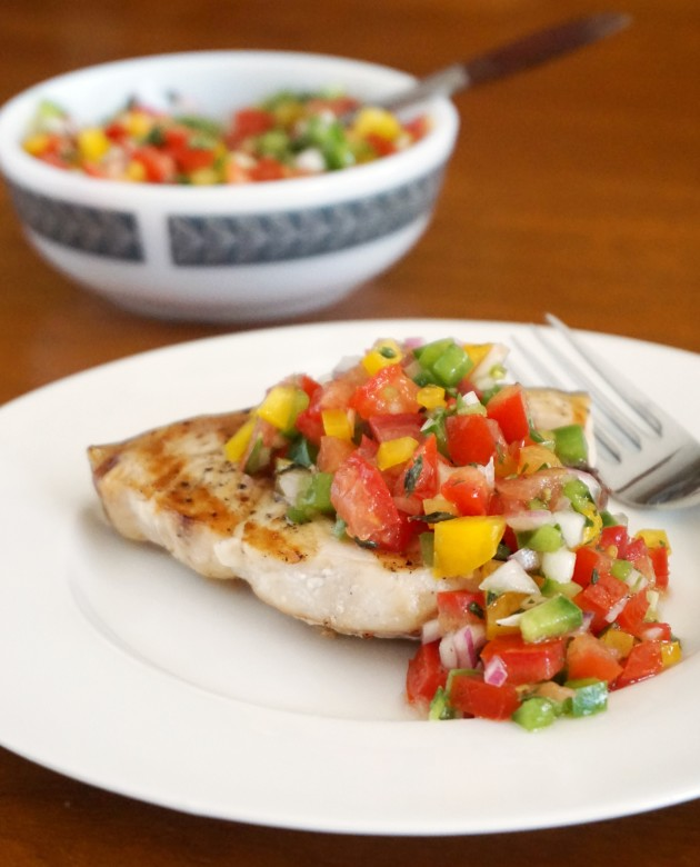 Grilled Swordfish with Tomato and Sweet Pepper Salsa