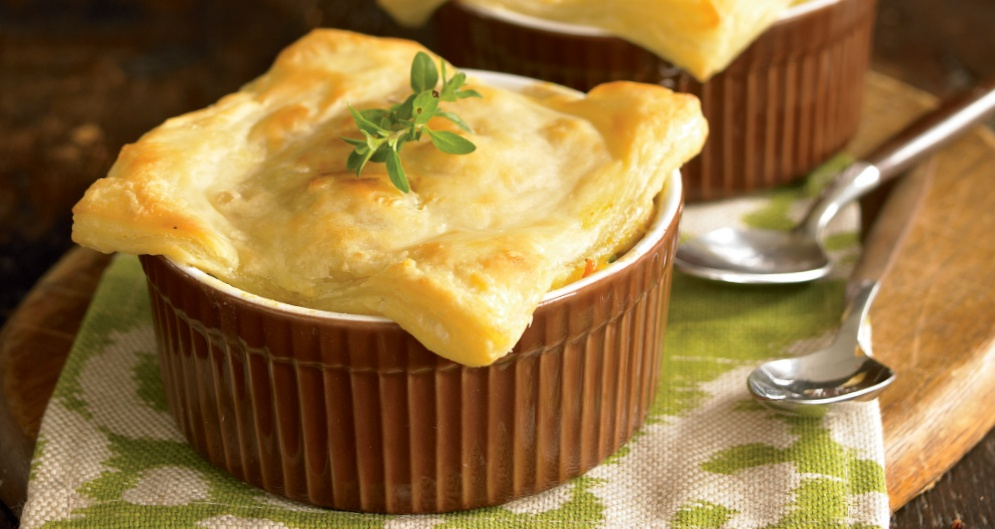 Individual Chicken Potpies with Puff Pastry Crust