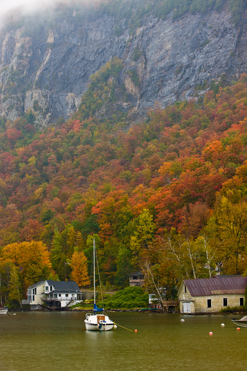 Cliffs of Mount Pisgah above Lake Willoughby in Vermont