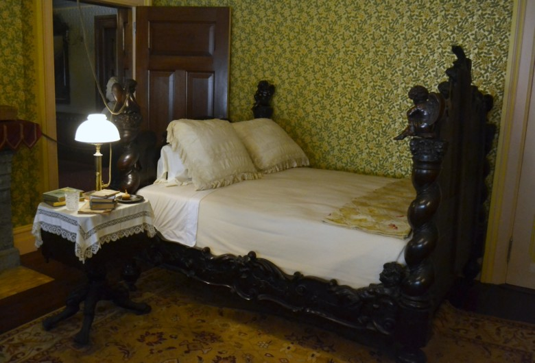 The focal point of the room, however, is the walnut bed the Clemenses purchased in Venice for the equivalent of $200. Later in life, Sam Clemens would be photographed in this bed, smoking and reading and surrounded by papers.