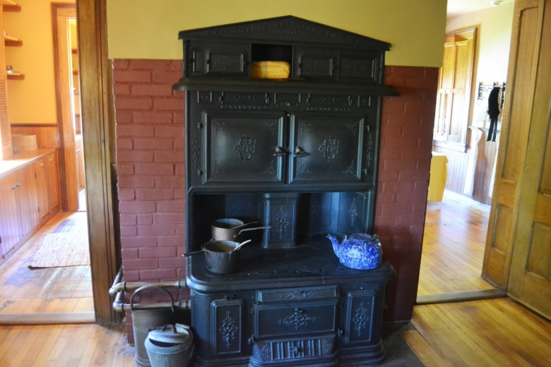 "The kitchen wing of the house was only recently renovated for visitors. Until 2003, it housed museum offices! Today it has been meticulously restored to what might have been there during the Clemens era based on ""building archaeology."" This Cyrus Carpenter & Co. coal stove fit a shape visible on the chimney."