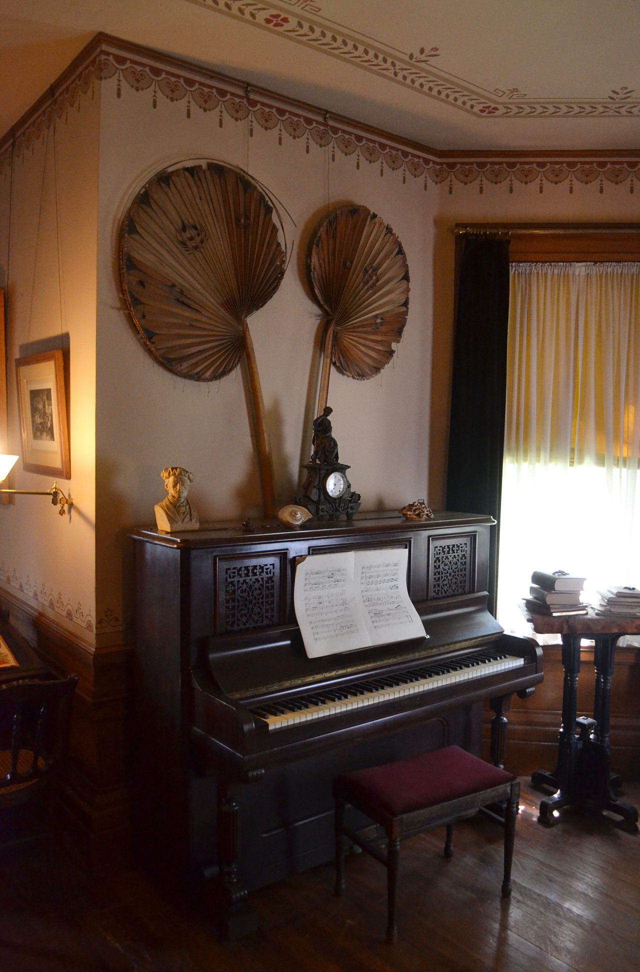 The Fischer upright piano in the schoolroom was given to the girls for Christmas in 1880.