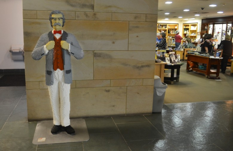Inside you're greeted by a Mark Twain made entirely out of LEGO pieces.