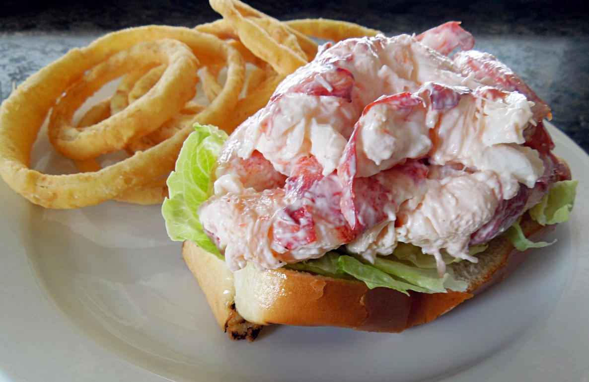 The bun is all but buried beneath a half-pound of lobster at Belle Isle Seafood.