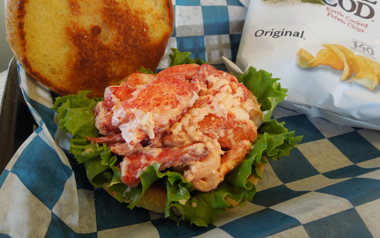 Sanders Fish Markets round bun and leafy lettuce are nice complements to the fresh-picked lobster.