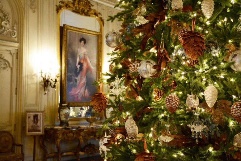 The Elms ballroom decorated for Christmas. - Christmas At The Newport Mansions - New England Today