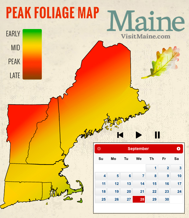Peak Foliage Map Peak Fall Foliage Map   New England Today Peak Foliage Map