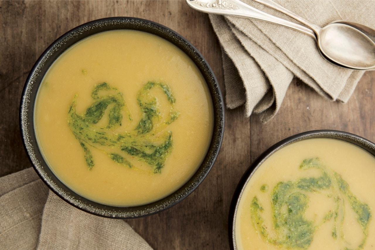 Potato & Cheddar Soup with Chive–Walnut Swirl - New ...