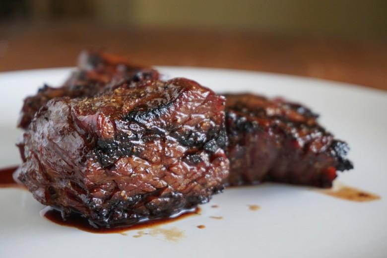 Steak tips, resting.