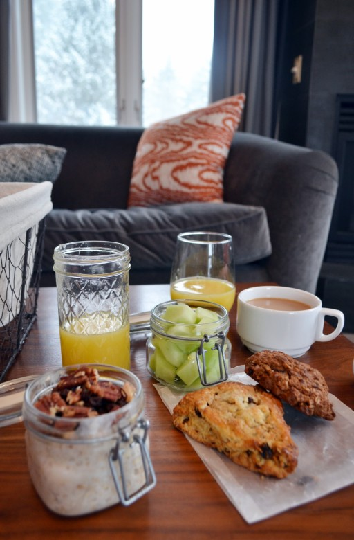 A hand-delivered daily breakfast basket is included in the rate for each room. Ours offered coconut overnight oats, a cinnamon raisin scone, peanut butter oat muffin, honeydew, and fresh-squeezed orange juice. Picnic Social also serves a full brunch