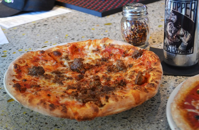 A meatball pizza was the perfect complement to an ice-cold Heady Topper.