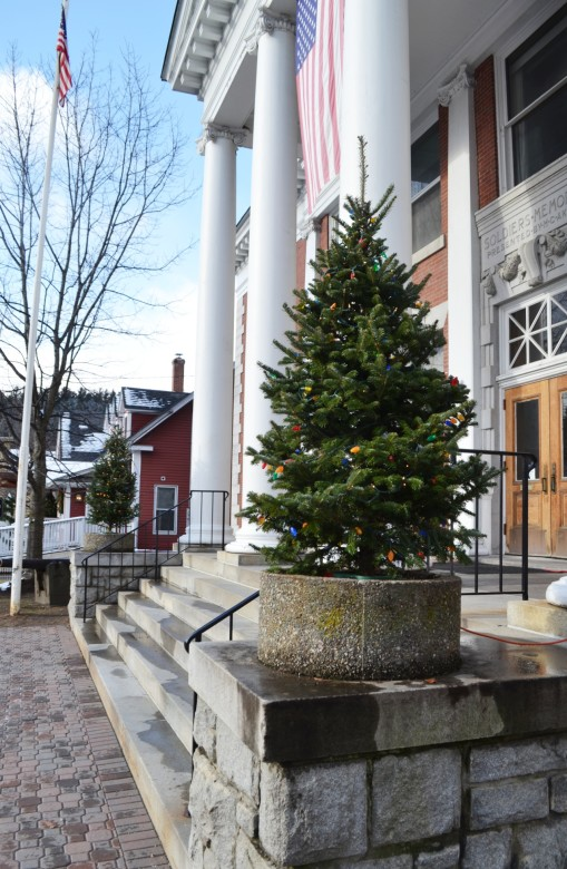 A pair of festive trees outside the Stowe Theater Guild.