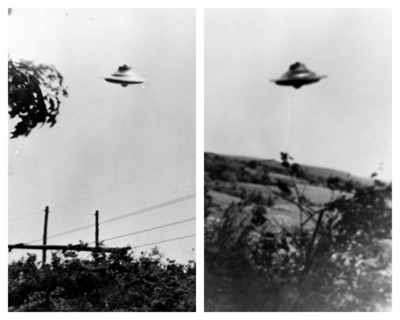 "Details from two of the seven ""flying saucer"" photos snapped by Harold Trudell near his home in Rhode Island in 1967."